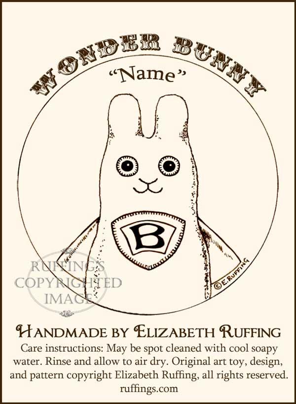 Wonder Bunny, Hug Me Bunny hang tag by Elizabeth Ruffing