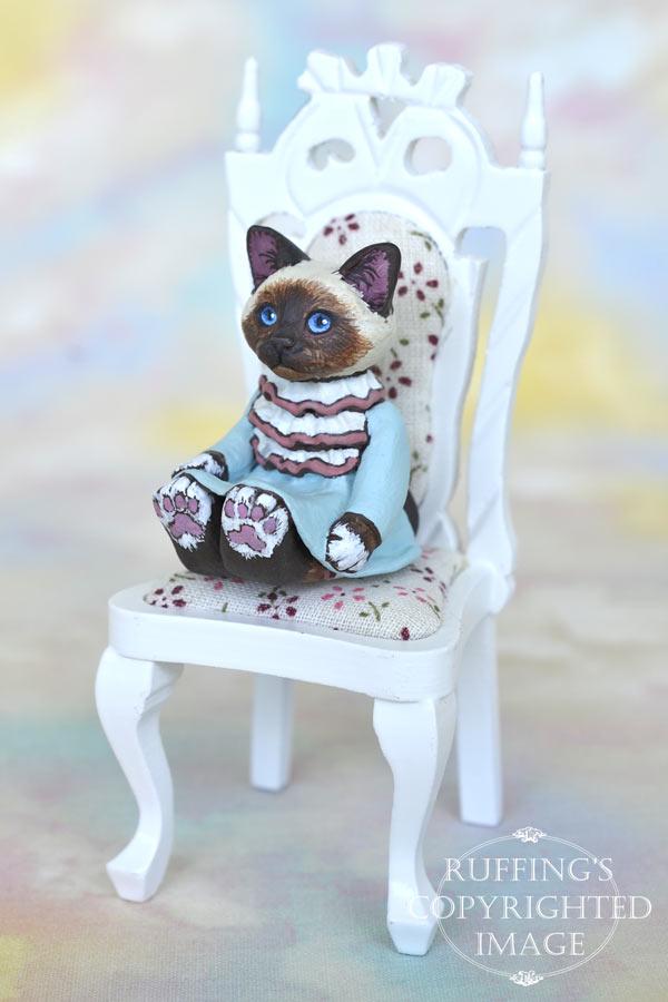 Abigail, miniature Birman cat art doll, handmade original, one-of-a-kind kitten by artist Max Bailey