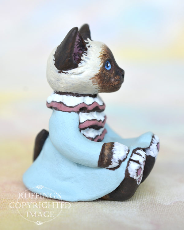 Abigail, miniature Birman cat art doll, handmade original, one-of-a-kind kitten by artist Max Bailey