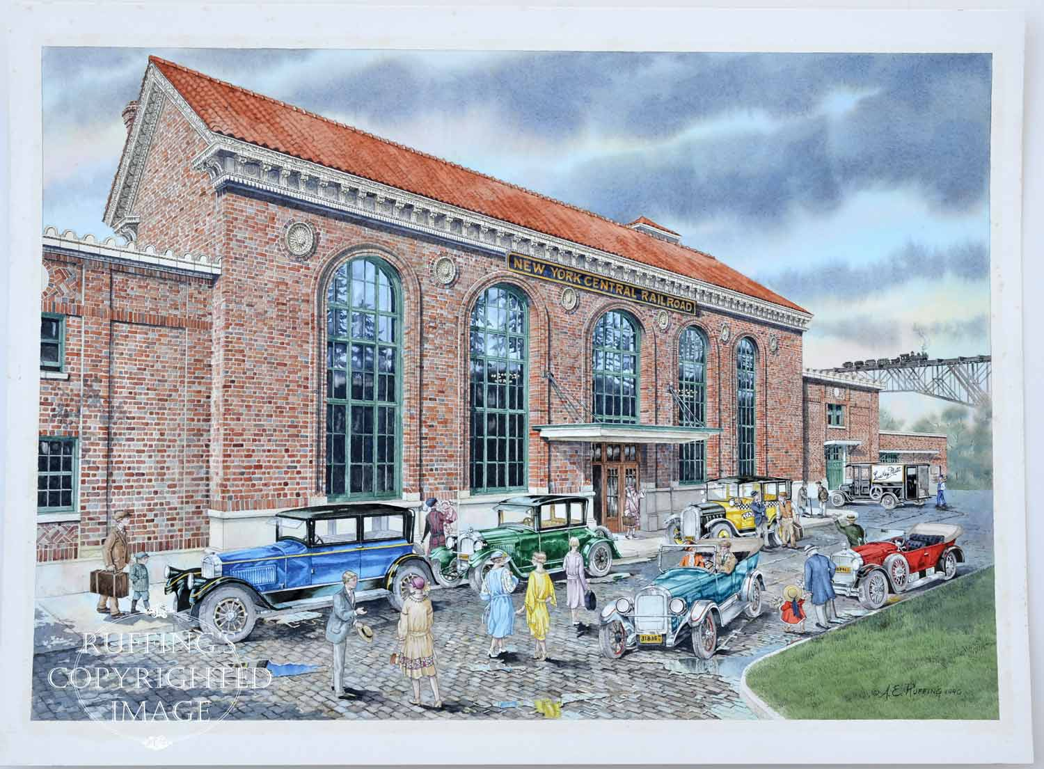 Down At The Station, Poughkeepsie Train Station Historical Original Watercolor by A E Ruffing