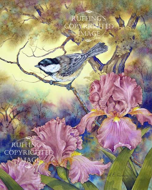 Black-capped Chickadee and Iris by A E Ruffing
