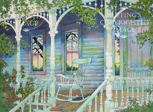 Sunday Morning, watercolor porch scene with rocking chair, by A E Ruffing