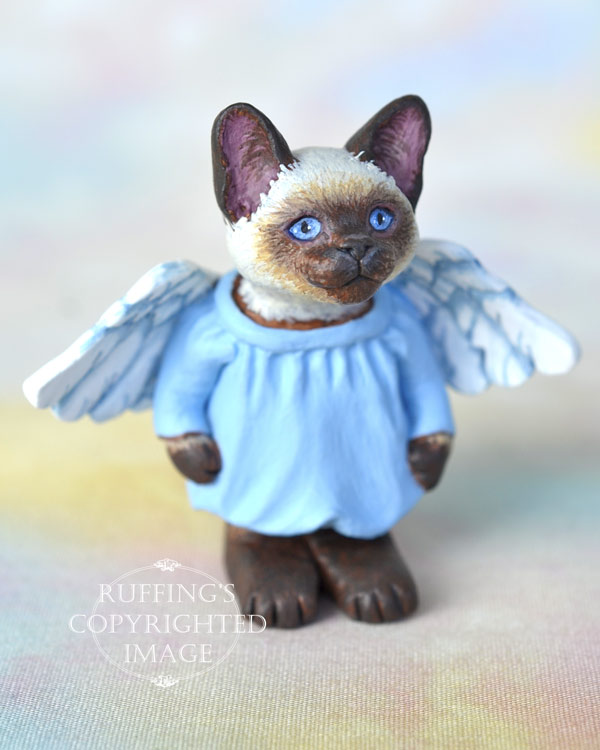 Aerial, miniature angel Siamese cat art doll, handmade original, one-of-a-kind kitten by artist Max Bailey