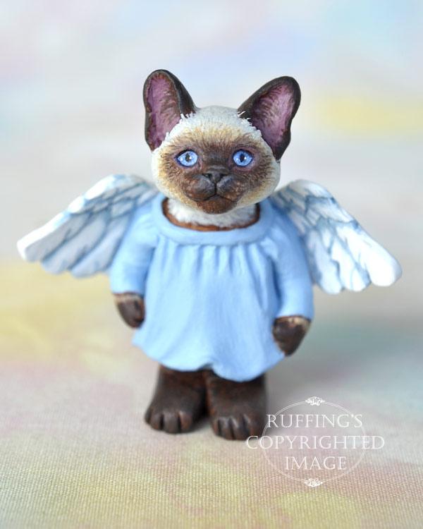 Aerial, miniature angel Siamese cat art doll, handmade original, one-of-a-kind kitten by artist Max Bailey