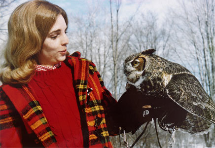 A E Ruffing with a Great-horned Owl