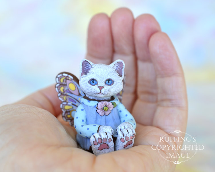 Alissandra, miniature white fairy cat art doll, handmade original, one-of-a-kind kitten by artist Max Bailey