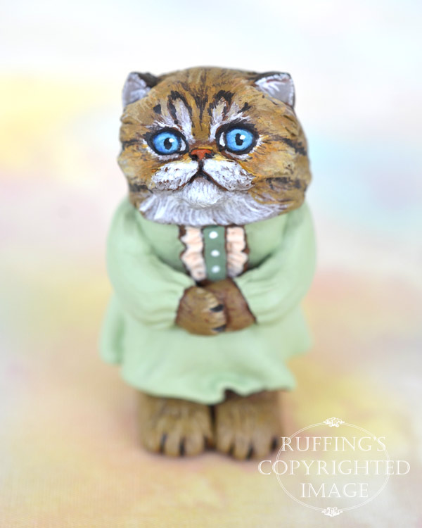 Alva, miniature tabby Persian cat art doll, handmade original, one-of-a-kind kitten by artist Max Bailey
