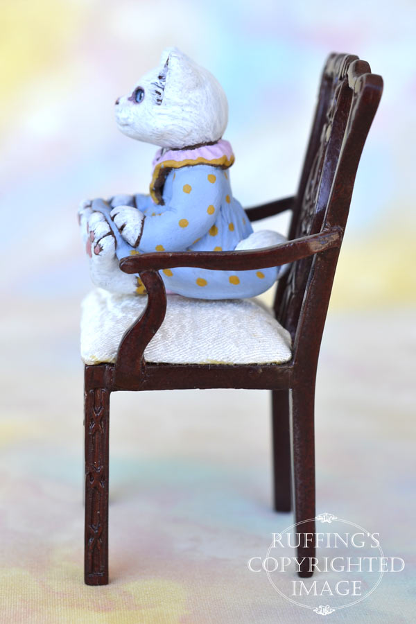 Alyssa, miniature white cat art doll, handmade original, one-of-a-kind kitten by artist Max Bailey