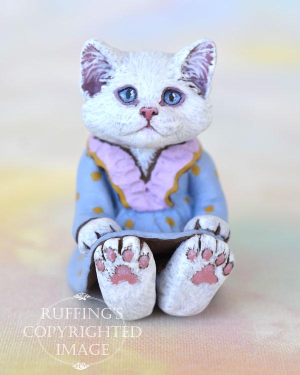 Alyssa, miniature white cat art doll, handmade original, one-of-a-kind kitten by artist Max Bailey