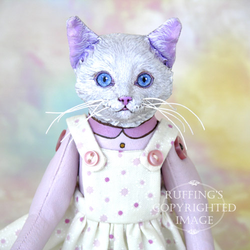 Amy the White Cat, Original One-of-a-kind Folk Art Doll by Max Bailey