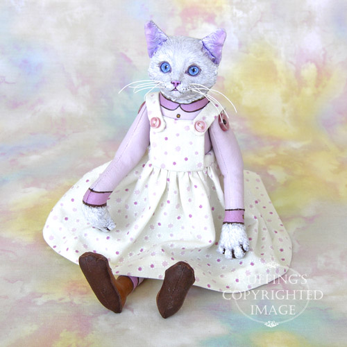 Amy, Original One-of-a-kind White Cat Art Doll by Max Bailey