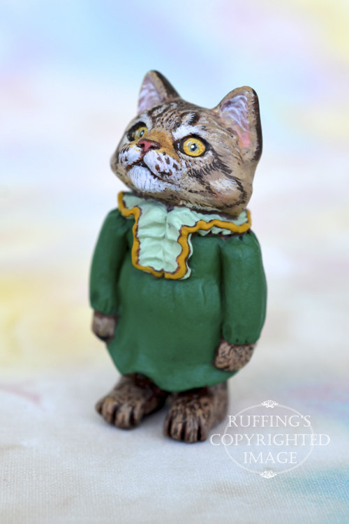 Angel, Original One-of-a-kind Dollhouse-sized Maine Coon Kitten Art Doll by Max Bailey