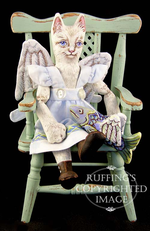 Angelicat and Angelifish, Original One-of-a-kind Cat and Fish Folk Art Angel Dolls by Max Bailey