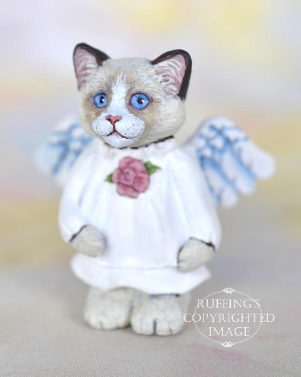 Angelique, miniature bi-color ragdoll cat angel art doll, handmade original, one-of-a-kind kitten by artist Max Bailey