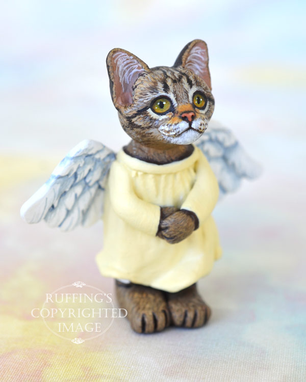 Angie, miniature angel tabby cat art doll, handmade original, one-of-a-kind kitten by artist Max Bailey