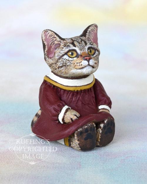 Miniature tabby cat art doll, handmade original, one-of-a-kind kitten, Annabelle by artist Max Bailey
