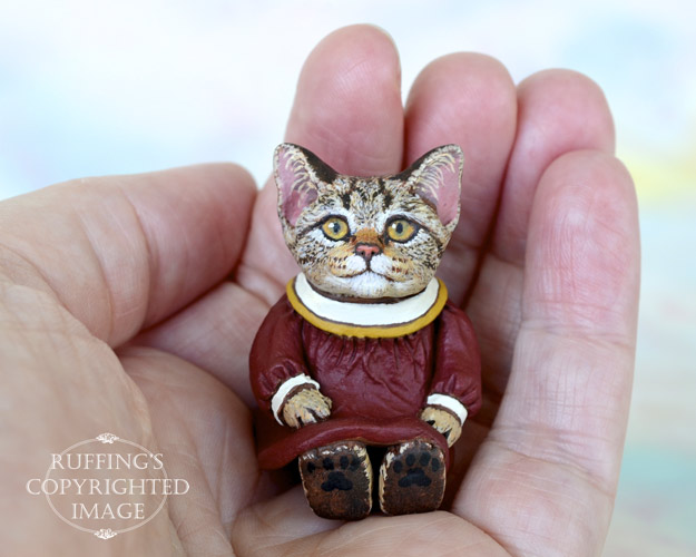 Miniature tabby cat art doll, handmade original, one-of-a-kind kitten, Annabelle by artist Max Bailey