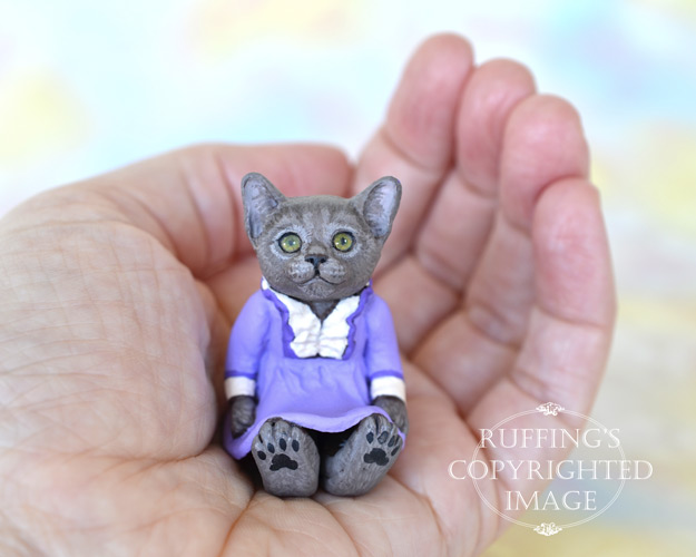 Annette, miniature Russian Blue cat art doll, handmade original, one-of-a-kind kitten by artist Max Bailey