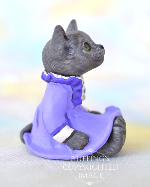 Annette, miniature Russian Blue cat art doll, handmade original, one-of-a-kind kitten by artist Max Bailey