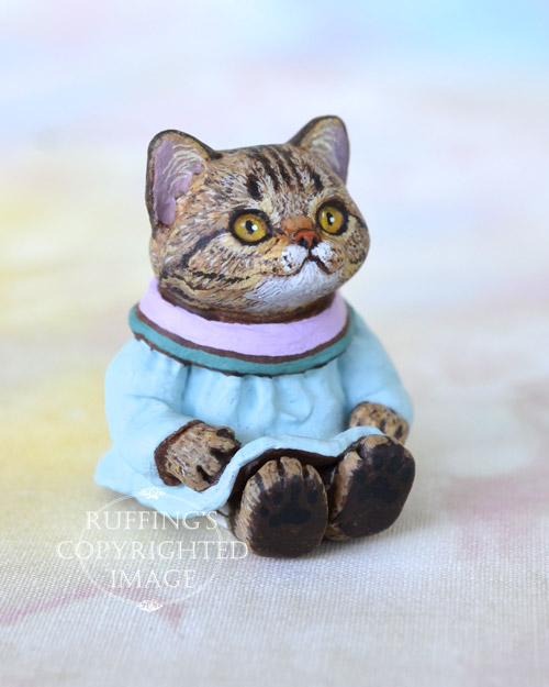 April, miniature American Shorthair tabby cat art doll, handmade original, one-of-a-kind kitten by artist Max Bailey