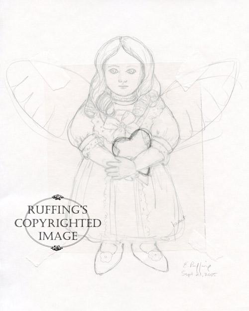 April May angel sketch by Elizabeth Ruffing
