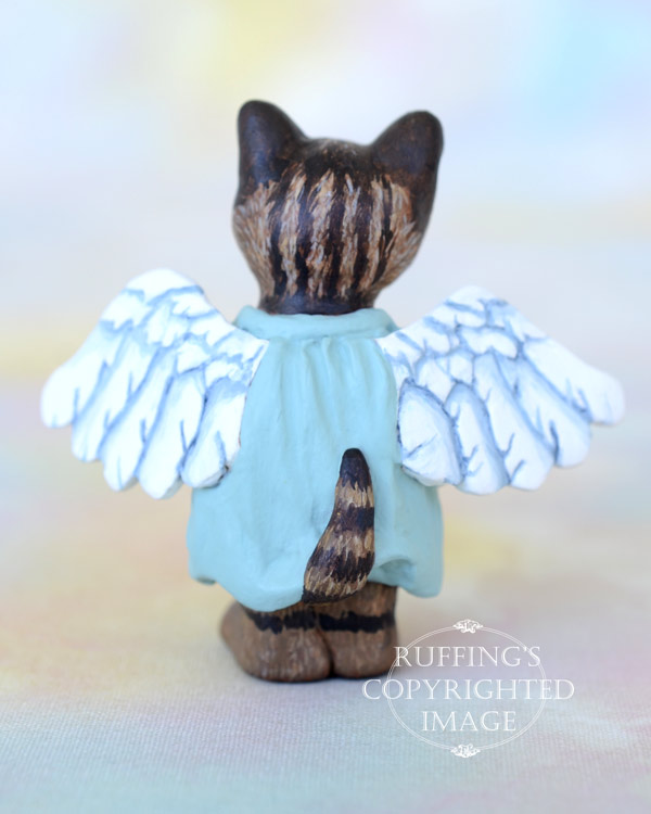 Astrid, miniature angel tabby cat art doll, handmade original, one-of-a-kind kitten by artist Max Bailey