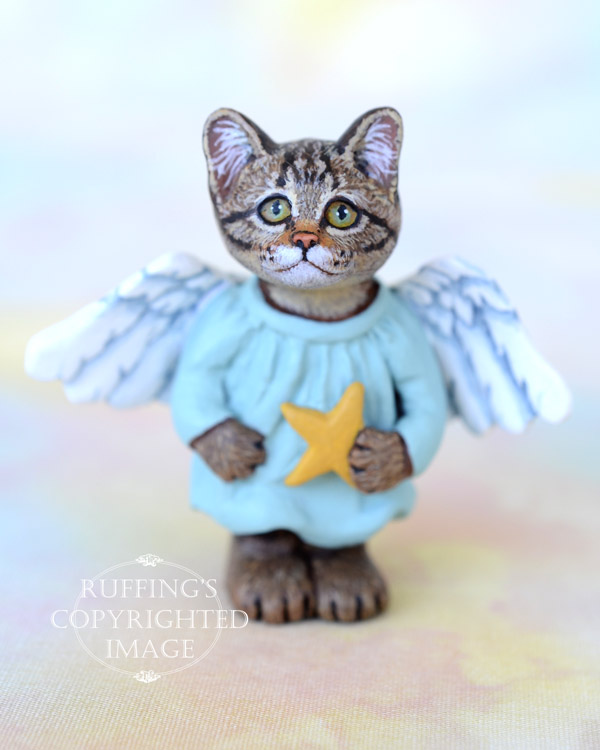Astrid, miniature angel tabby cat art doll, handmade original, one-of-a-kind kitten by artist Max Bailey