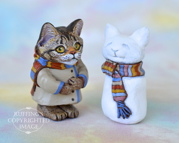 Audrey, miniature tabby Maine Coon cat art doll, handmade original, one-of-a-kind kitten by artist Max Bailey