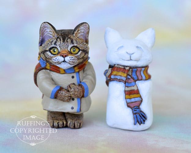 Audrey, miniature tabby Maine Coon cat art doll, handmade original, one-of-a-kind kitten by artist Max Bailey