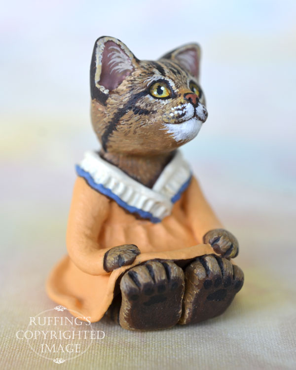 Augusta, miniature tabby cat art doll, handmade original, one-of-a-kind kitten by artist Max Bailey