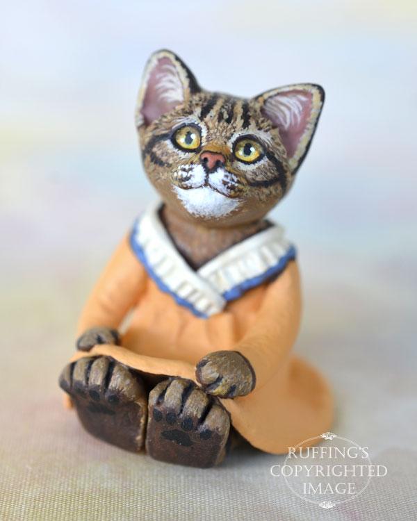Augusta, miniature tabby cat art doll, handmade original, one-of-a-kind kitten by artist Max Bailey