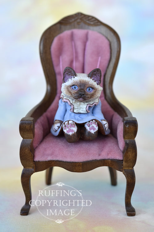 Ava, miniature Birman cat art doll, handmade original, one-of-a-kind kitten by artist Max Bailey