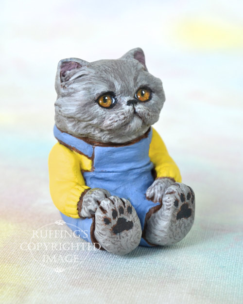 Baxter, miniature Blue Persian cat art doll, handmade original, one-of-a-kind kitten by artist Max Bailey
