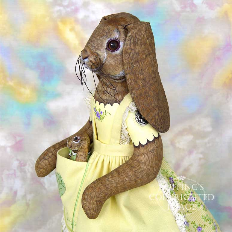 Beatrice and Beulah, Original One-of-a-kind Lop Bunny Rabbit Folk Art Dolls by Max Bailey and Elizabeth Ruffing
