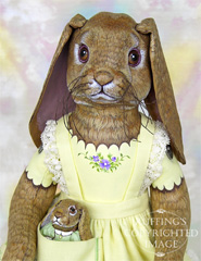 Beatrice and Beulah Lop Rabbit Original One-of-a-kind Folk Art Dolls by Max Bailey and Elizabeth Ruffing