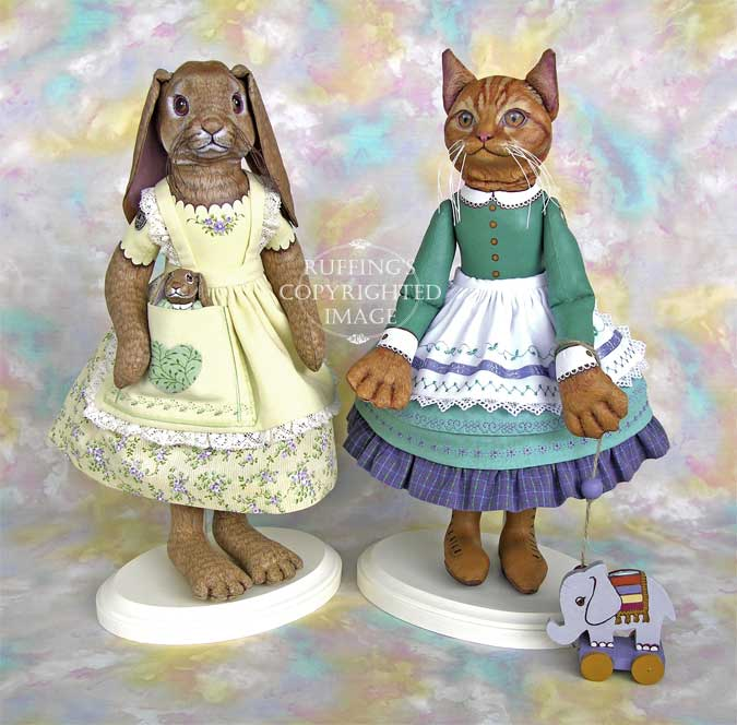 Beatrice and Beulah, Emily and Edwin, Original One-of-a-kind Folk Art Dolls by Max Bailey and Elizabeth Ruffing