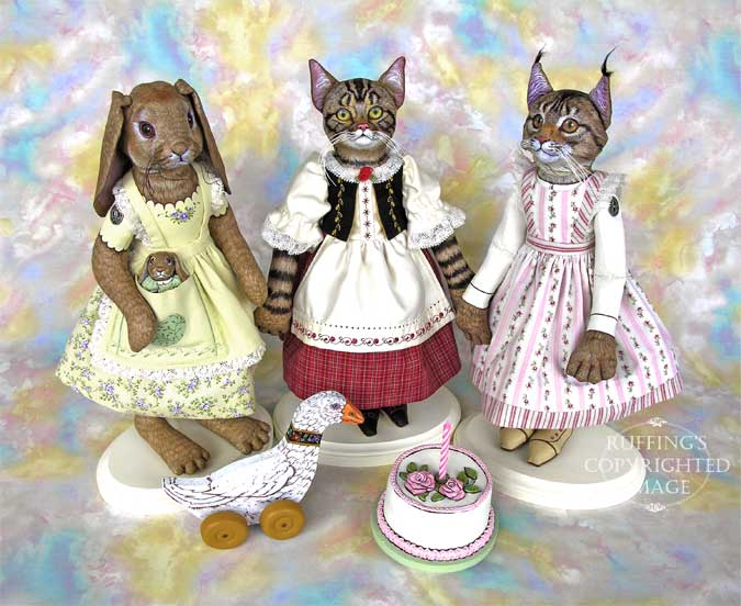 Beatrice and Beulah, Heidi and Helga, Chelsea the Maine Coon Cat, Original One-of-a-kind Folk Art Dolls by Max Bailey and Elizabeth Ruffing