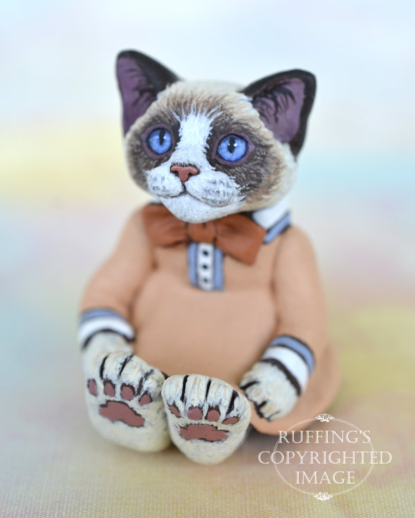 Becka, miniature bi-color Ragdoll cat art doll, handmade original, one-of-a-kind kitten by artist Max Bailey