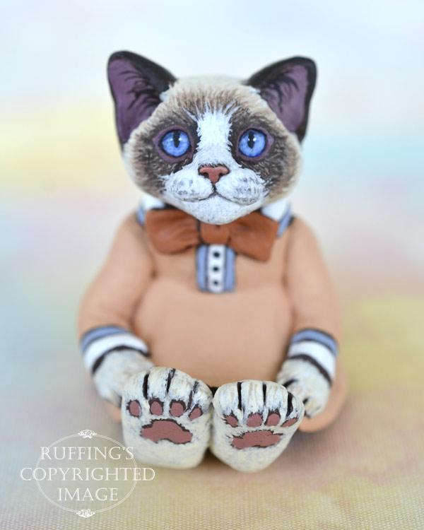 Becka, miniature bi-color Ragdoll cat art doll, handmade original, one-of-a-kind kitten by artist Max Bailey