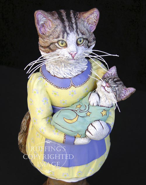Belinda and BoBo, Original One-of-a-kind Tabby Cat Mother and Kitten Folk Art Doll Figurine by Max Bailey