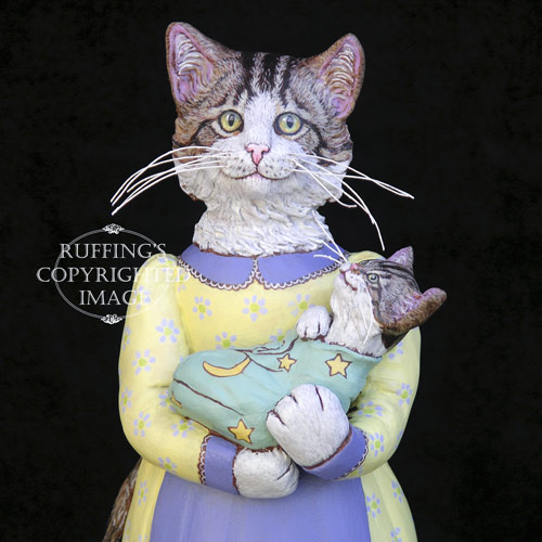 Belinda and BoBo, Original One-of-a-kind Folk Art Tabby Cat and Kitten Doll Figurine by Max Bailey
