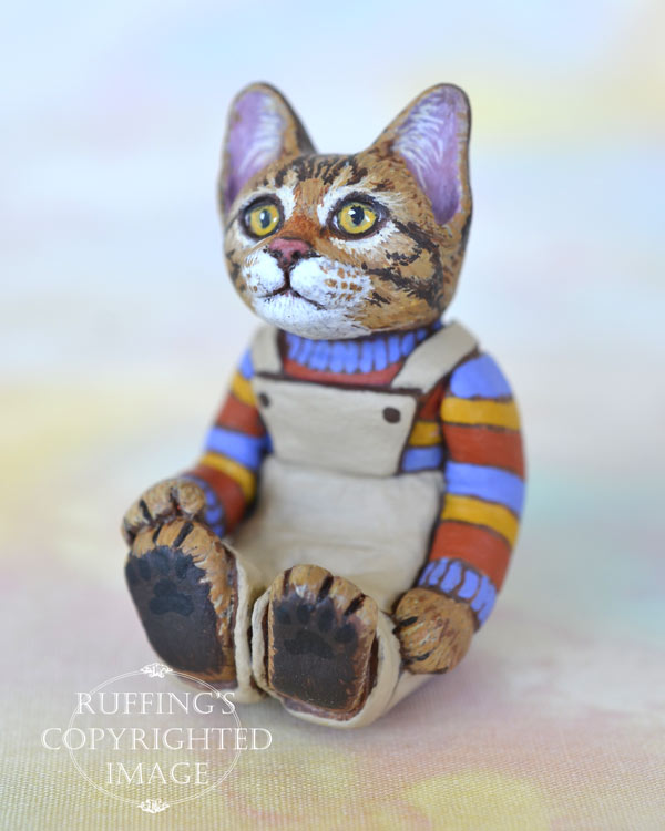Benjamin, miniature Bengal tabby cat art doll, handmade original, one-of-a-kind kitten by artist Max Bailey