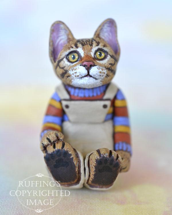 Benjamin, miniature Bengal tabby cat art doll, handmade original, one-of-a-kind kitten by artist Max Bailey