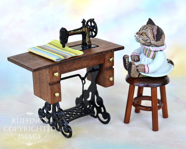 Bernadette, miniature American Shorthair tabby cat art doll, handmade original, one-of-a-kind kitten by artist Max Bailey