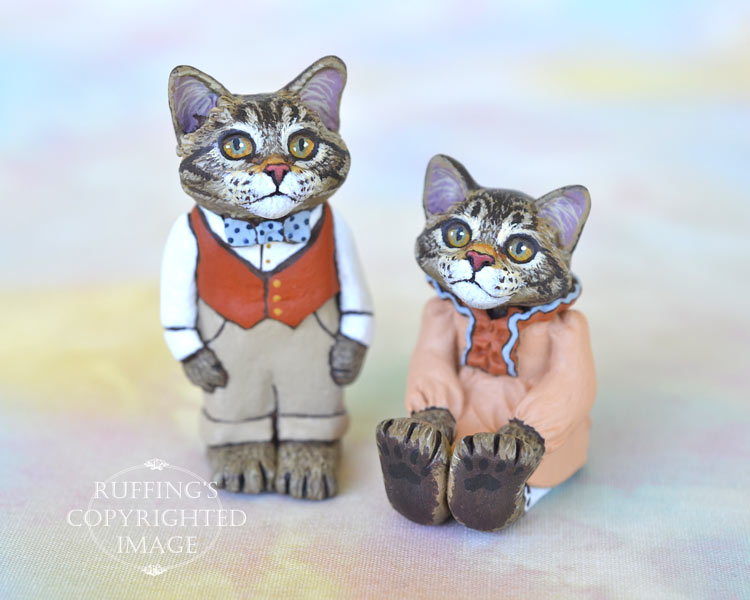 Bernie and Bess, miniature Maine Coon cat art dolls, handmade original, one-of-a-kind kittens by artist Max Bailey