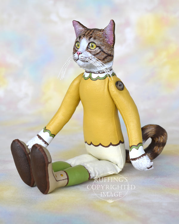 Betsy, tabby-and-white Maine Coon cat art doll, handmade original, one-of-a-kind by artist Max Bailey