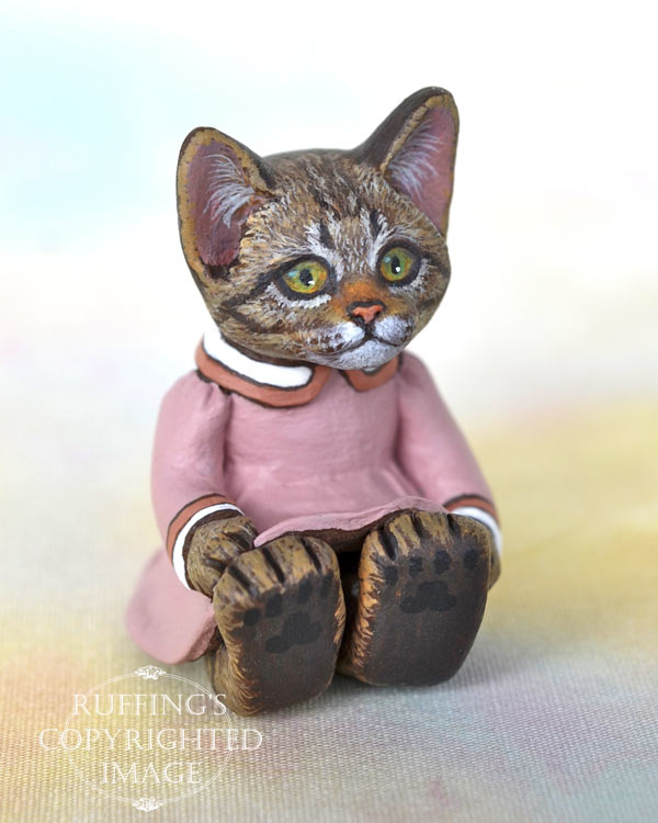 Bitsy, miniature tabby cat art doll, handmade original, one-of-a-kind kitten by artist Max Bailey