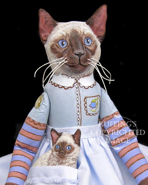 Bluebell and Bridgett, Original One-of-a-kind Siamese Folk Art Cat Dolls by Max Bailey