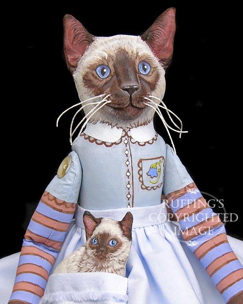 Bluebell and Bridgett, Original One-of-a-kind Siamese Folk Art Cat Dolls by Max Bailey