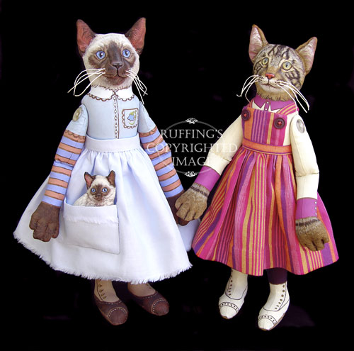 Bluebell and Bridget and Daphne, Original One-of-a-kind Siamese Cat and Kitten and Tabby Cat Folk Art Dolls by Max Bailey